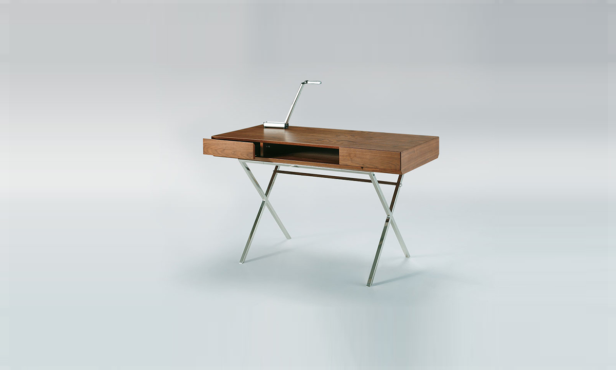 bureau noyer 2 tiroirs marais international home center. Black Bedroom Furniture Sets. Home Design Ideas