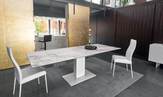 Table à rallonge Complexe céramique-verre marbre blanc / Métal blanc optique opaque - Echo de Calligaris