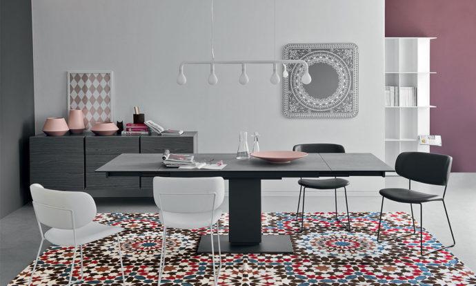 Table de repas Complexe céramique-verre ciment / Métal gris opaque - Echo de Calligaris