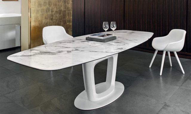 Table repas Complexe céramique-verre marbre blanc / Laqué blanc optique brillant Orbital de Calligaris