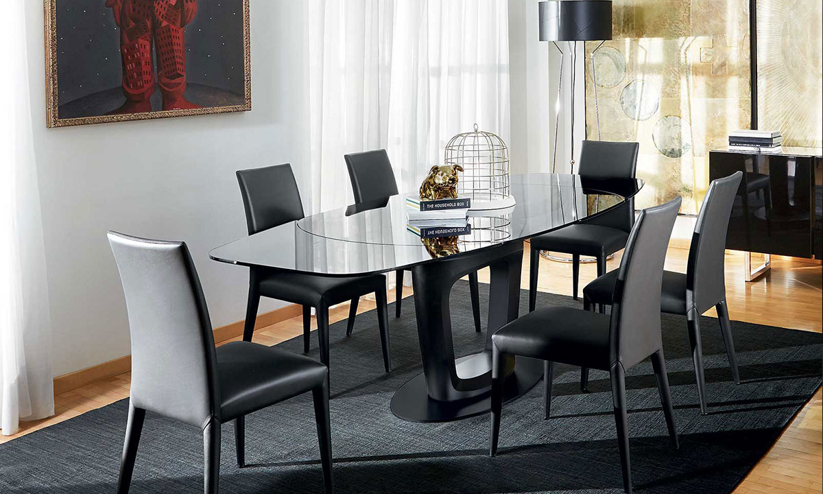 table de repas orbital extensible calligaris home center. Black Bedroom Furniture Sets. Home Design Ideas