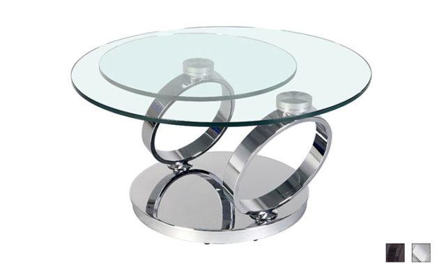 Table basse articulée Olympe chrome fermée - Eda Concept
