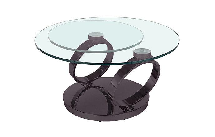 Table basse articulée Olympe Nickel noir fermée - Eda Concept