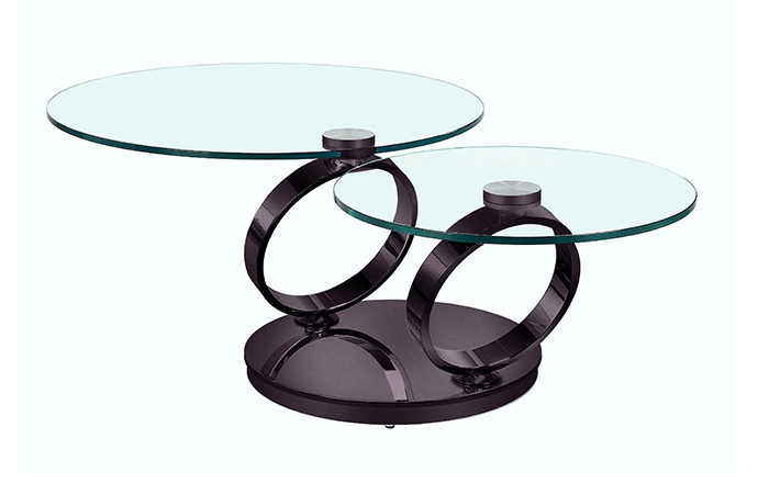 Table basse articulée Olympe Nickel noir ouverte - Eda Concept