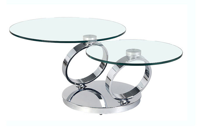 Table basse articulée Olympe chrome ouverte - Eda Concept