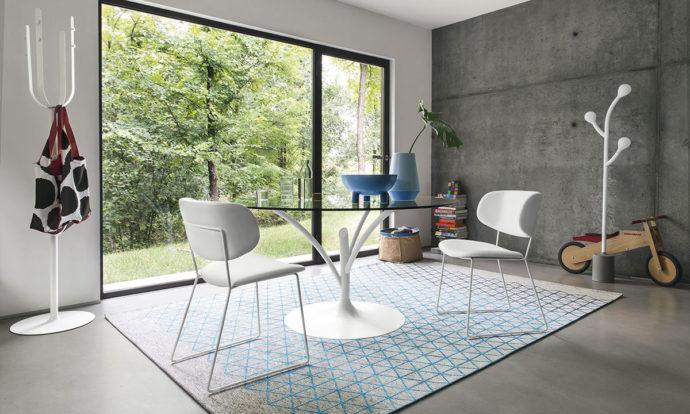 Chaise cuir blanc optique / métal blanc optique opaque - Claire M de Calligaris