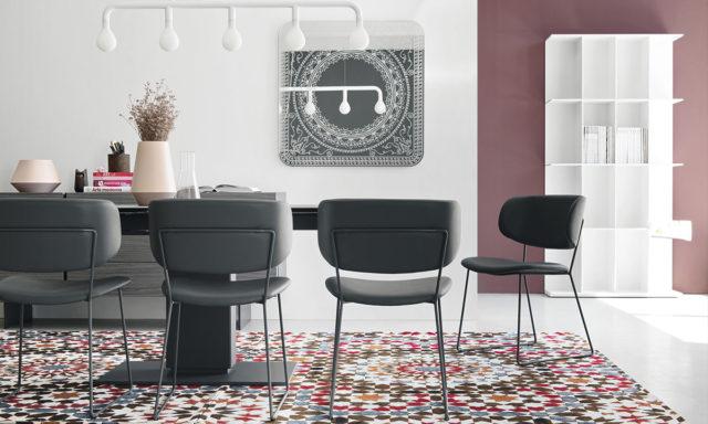 Chaise cuir gris / métal gris opaque - Claire M de Calligaris