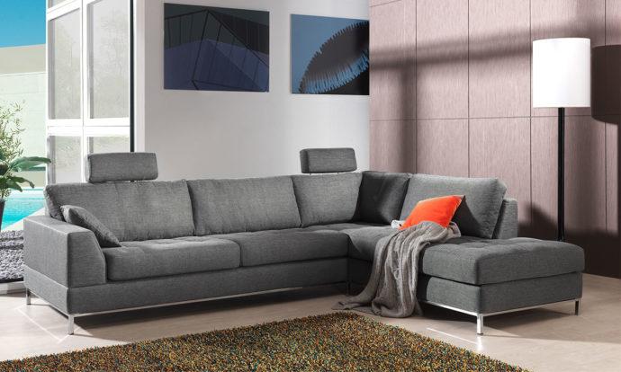 Canapé angle méridienne gris - MILANO