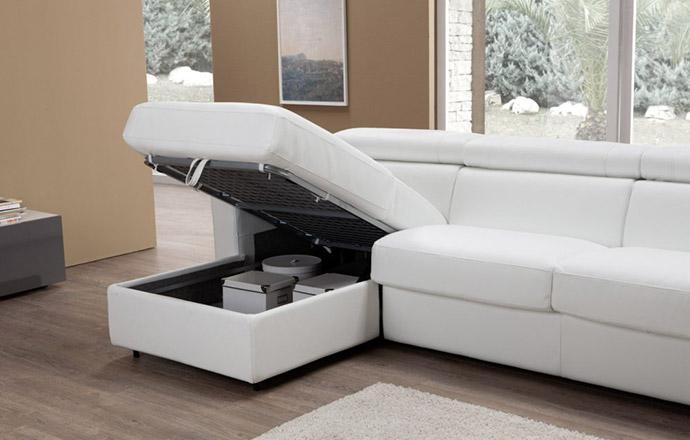 Canapé d'angle convertible cuir MORRIS avec coffre - Altoni Leather