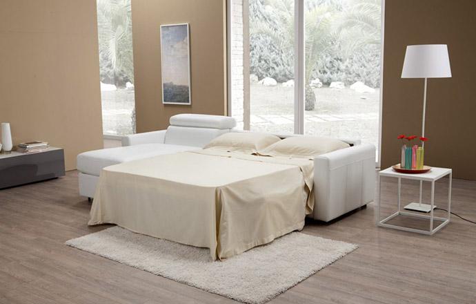 Canapé d'angle convertible cuir MORRIS ouvert - Altoni Leather