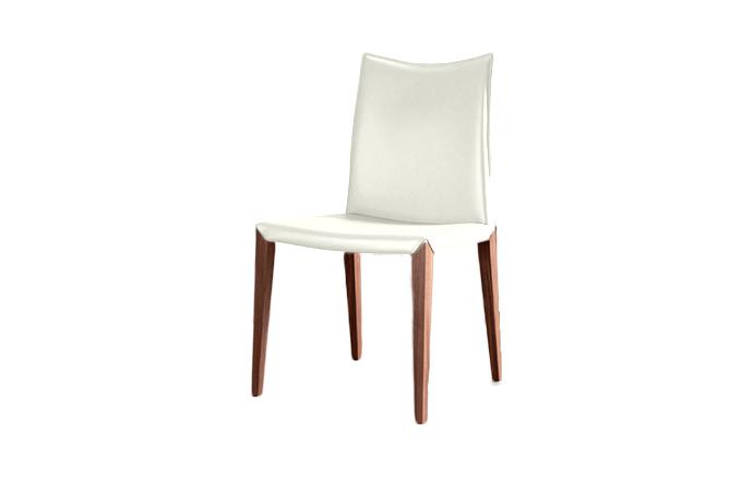 Chaise en cuir avec pied en bois flora compar home center for Chaise avec pied en bois