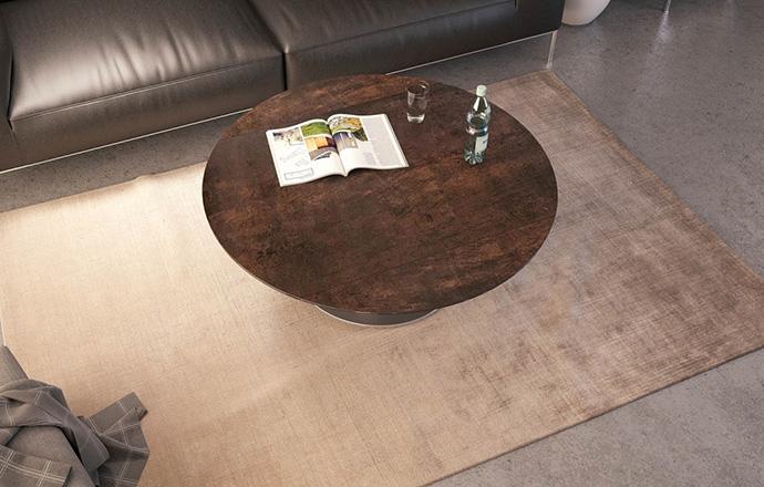 Table basse extensible céramique acier Luna OUVERTE - AKANTE