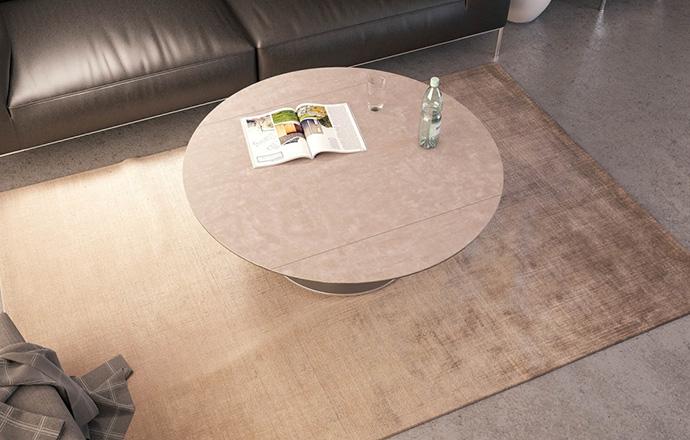 Table basse extensible céramique argile Luna OUVERTE - AKANTE