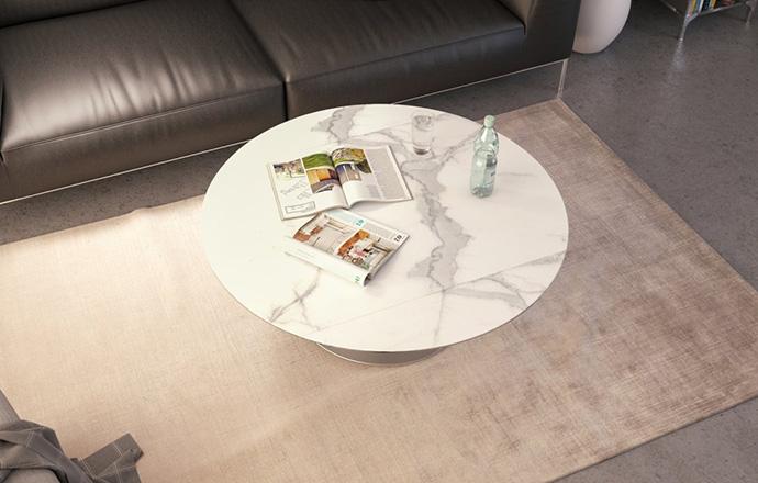 Table basse extensible céramique marbre Luna OUVERTE - AKANTE