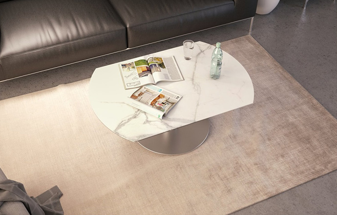 Table basse extensible céramique marbre Luna FERMÉE - AKANTE