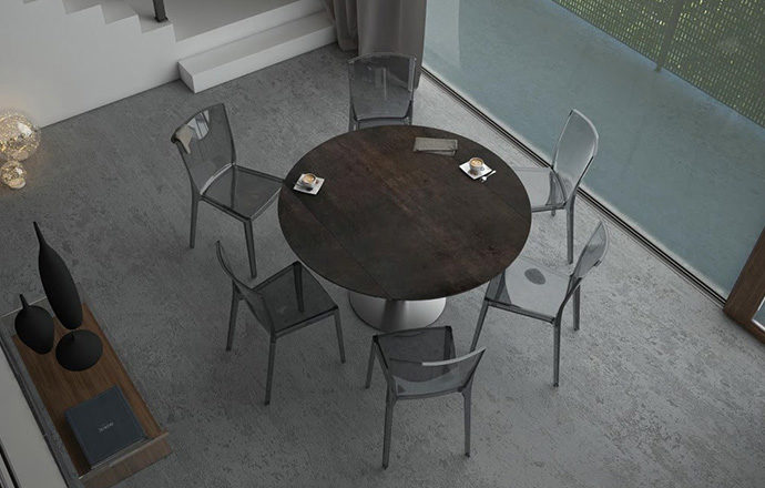 Table de repas extensible LUNA céramique acier - Akante