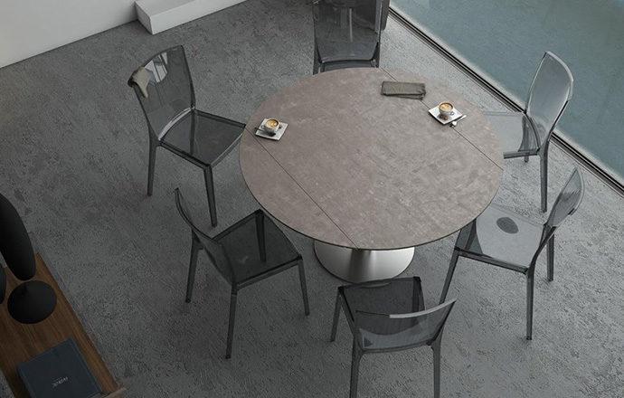 Table de repas extensible LUNA céramique argile - Akante