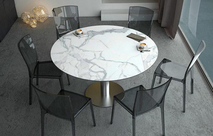 Table de repas extensible LUNA céramique marbre - Akante