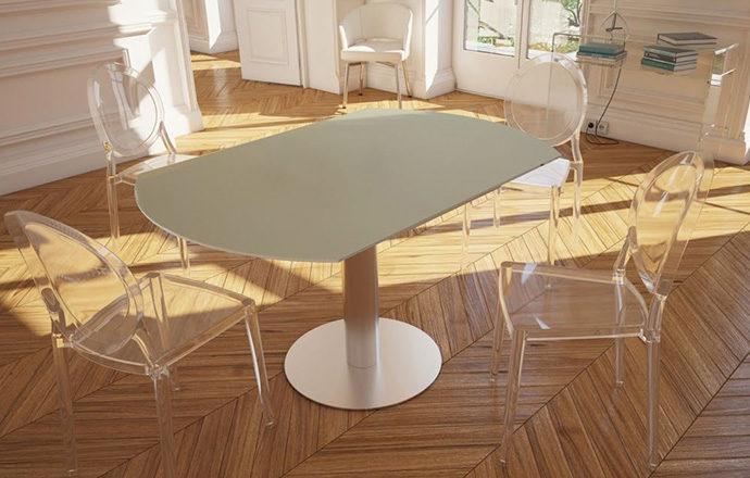 Table de repas extensible LUNA céramique laqué blanc gris perle - Akante