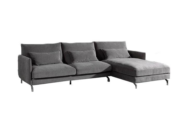 Canapé d'angle à droite vue de face chaise longue - Gris Mellow 08