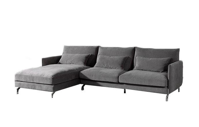 Canapé d'angle à gauche vue de face chaise longue - Gris Mellow 08
