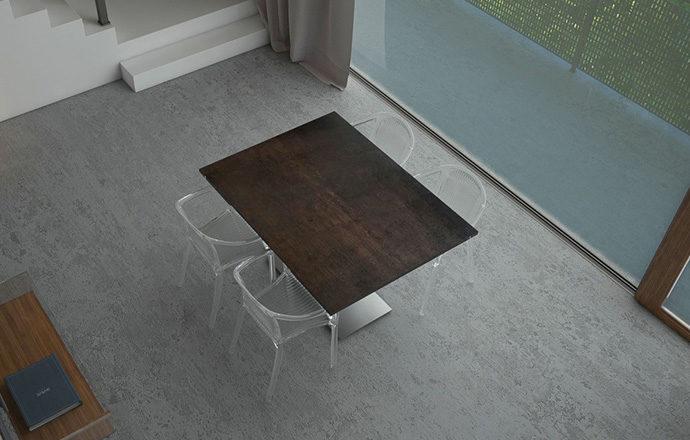 Table de repas extensible céramique acier PANAMA de chez Akante - fermée