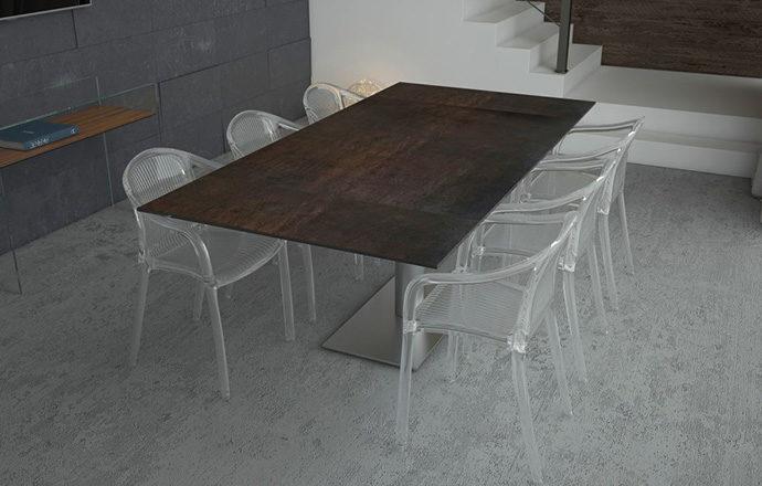 Table de repas extensible céramique acier PANAMA de chez Akante - ouverte