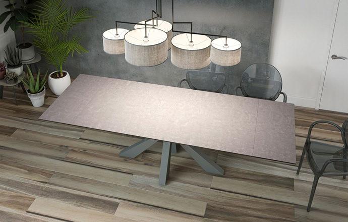 Table de repas extensible céramique argile OTTAWA de chez Akante - ouverte