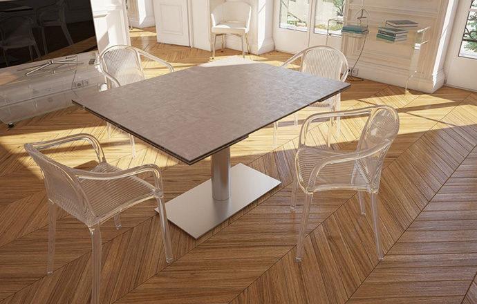 Table de repas extensible céramique argile PANAMA de chez Akante - fermée