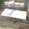 Table de repas extensible céramique marbre mat OTTAWA de chez Akante - fermée