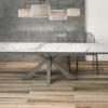 Table de repas extensible céramique marbre mat OTTAWA de chez Akante - ouverte