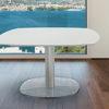 Table repas extensible base verre, laqué blanc dépoli ARTICA de chez Akante fermée