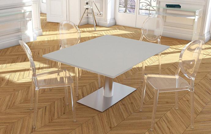Table de repas extensible laqué blanc PANAMA de chez Akante - fermée