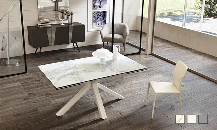 Table de repas extensible céramique marbre - ASTBURY by Home Center