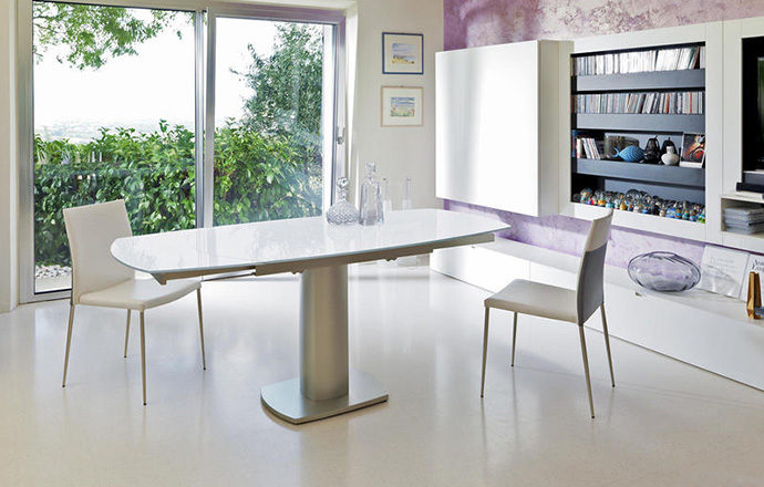 Table repas extensible verre trempé blanc ouverte - LONDON by Home Center