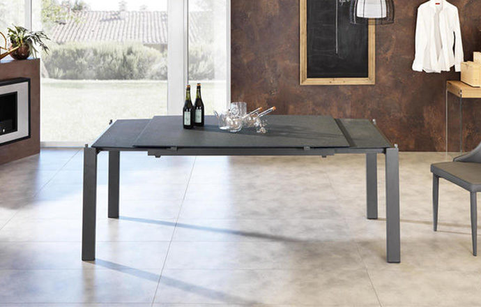 Table repas extensible verre trempé gris foncé semi-ouverte - BIRMINGHAM by Home Center