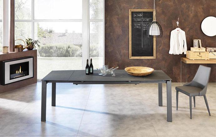 Table repas extensible verre trempé gris foncé ouverte - BIRMINGHAM by Home Center
