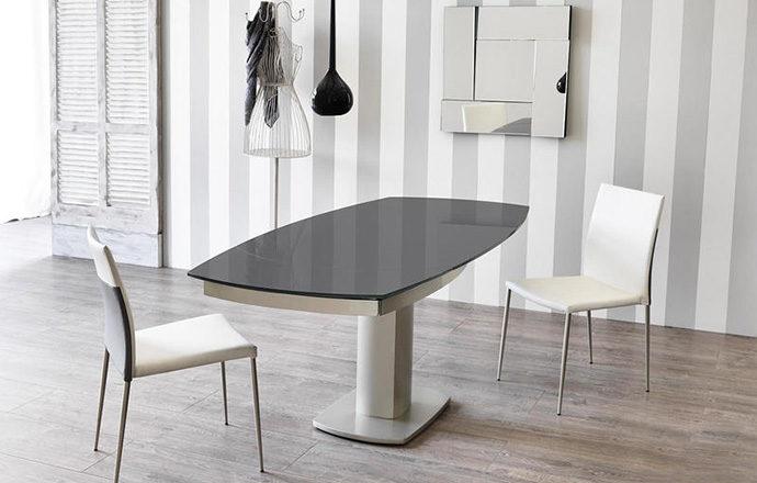 Table repas extensible verre trempé gris foncé ouverte - LONDON by Home Center