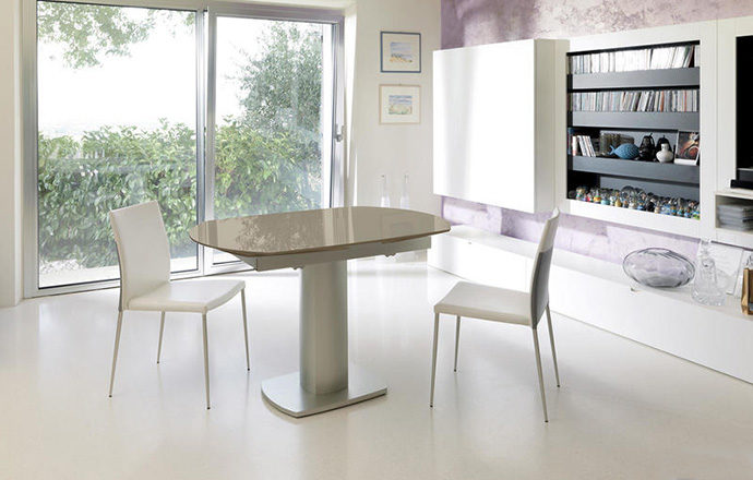 Table repas extensible verre taupe fermée - LONDON by Home Center