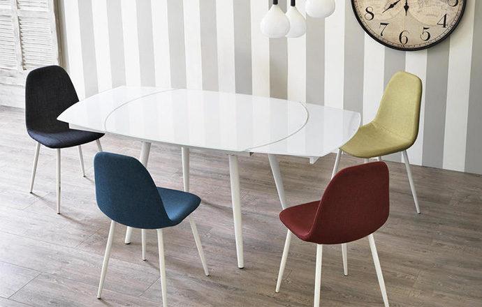 Table de repas extensible en verre blanc - LONDON four