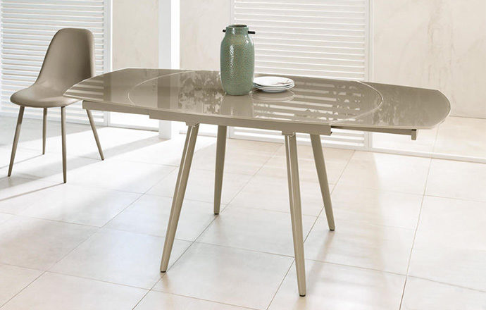 Table de repas extensible en verre taupe - LONDON four