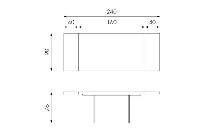 Table de repas en bois 160 ouverte - Technique
