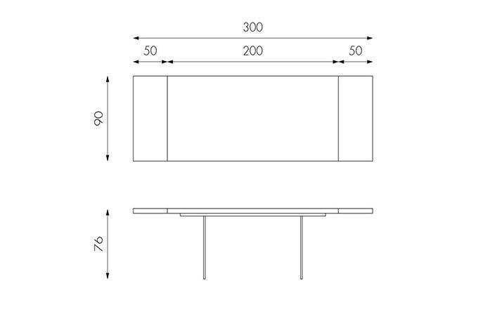 Table de repas en bois 200 ouverte - Technique