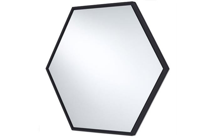 Miroir hexagone noir - Lina