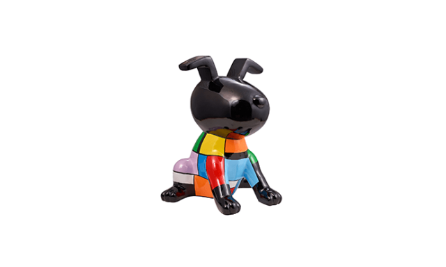 Sculpture chien PUPPY en résine multicolore