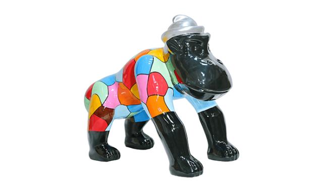 Sculpture en résine multicolore-gorille avec chapeau gris