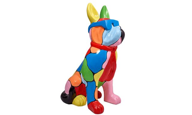 Statue bouledogue français en résine multicolore avec lunette