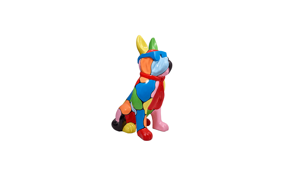 STATUE BOULEDOGUE FRANCAIS EN RESINE MULTICOLORE – by Home Center 1