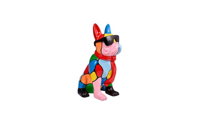 Statuette bouledogue français en résine multicolore avec lunette