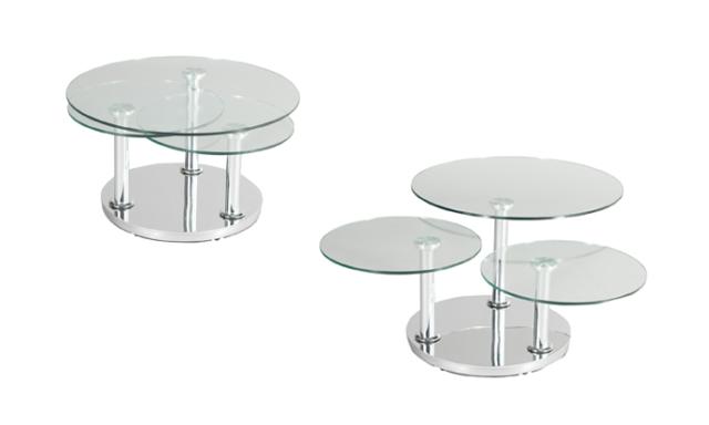 Table basse ronde 3 plateau en verre - ROSE Eda Concept
